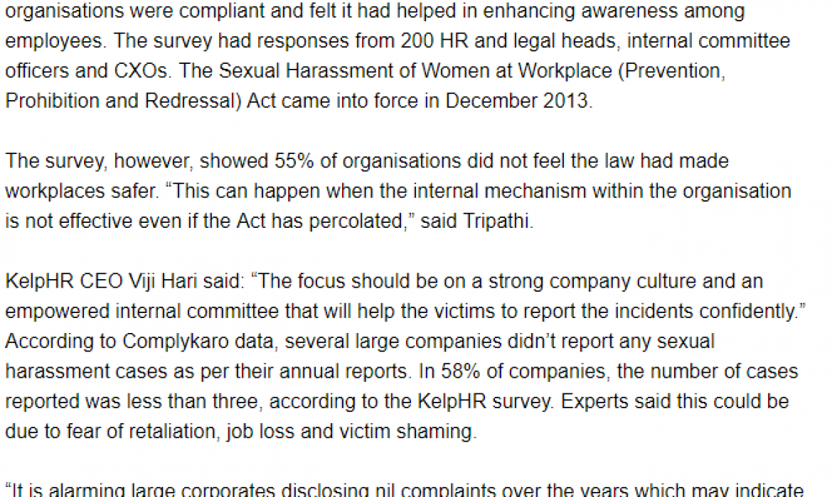 At BSE 100 companies, survey finds more cases of sexual harassment reported as awareness grows