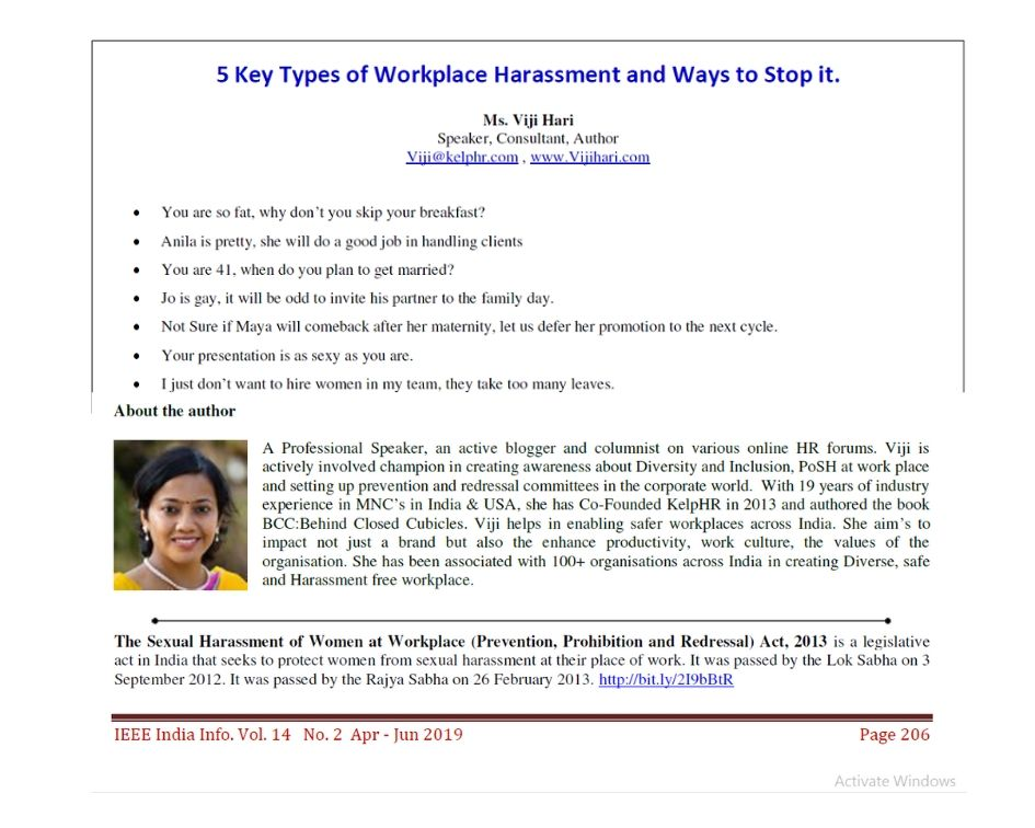 ieeecs - 5 Types of Workplace Harassment and ways to stop it.